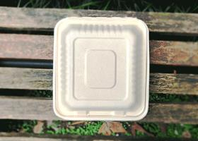 泰国工厂大量现货供应:纸浆模塑餐具: 8寸锁盒 型号2