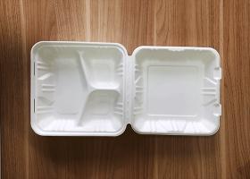 泰国工厂大量现货供应:纸浆模塑餐具; 9寸三格锁